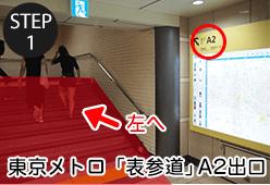 東京メトロ「表参道駅」A2出口を進みます。