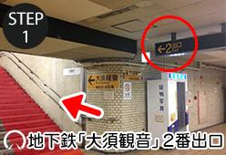 地下鉄大須観音2番出口を進む